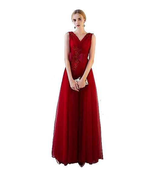 Felaladress Womens Sleeveless V-Neck Bridesmaid Maxi Dress Prom Gowns ...