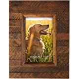 Eosglac Wooden Picture Frame 4x6 inch, Wood Plank Design with Rustic Brown Finish, Wall Mounting or Tabletop Display…