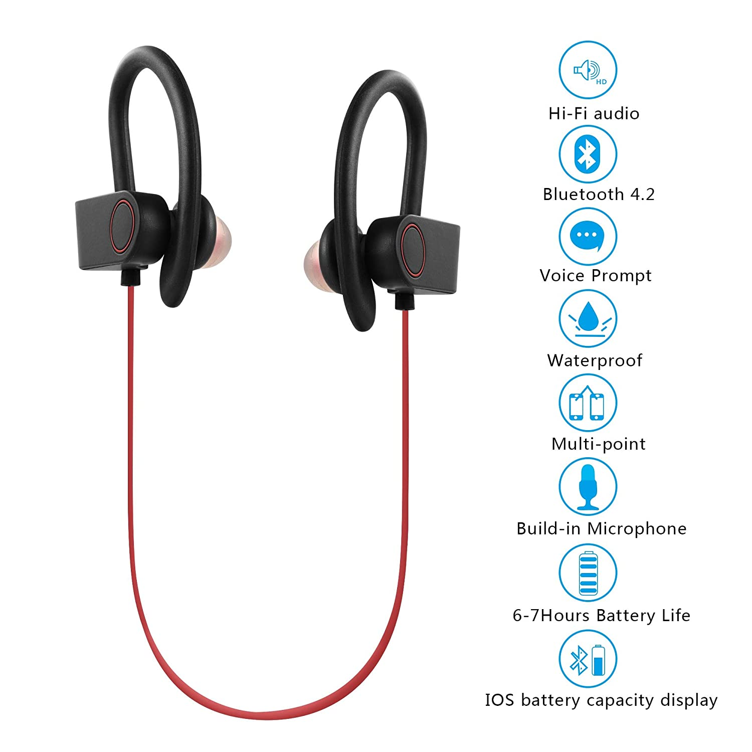 Wireless Bluetooth Headset Wireless Earbuds Sweatproof Sports Headphones with Charging Case Mini Size in-Ear Noise Canceling Phone Android Smart-10-26-4