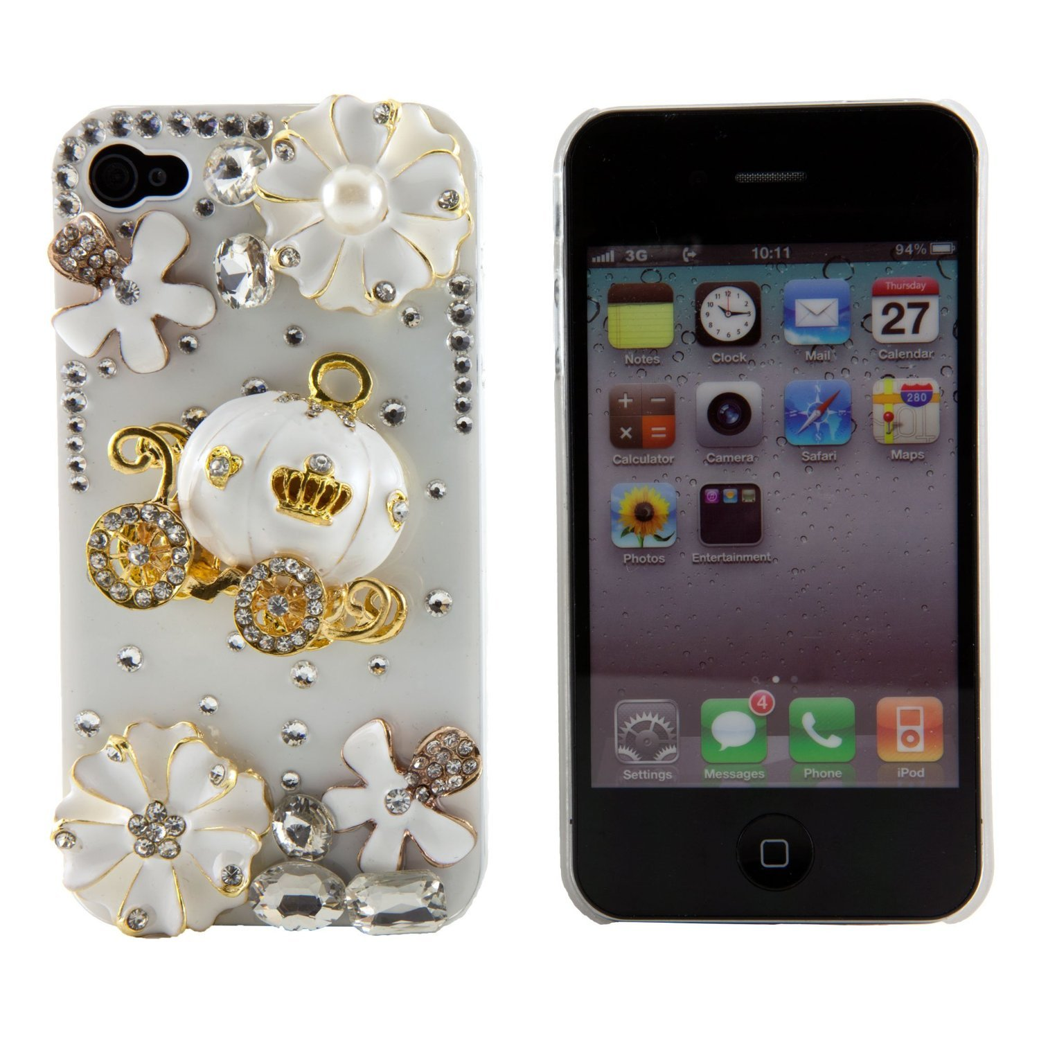 Amazon 3d Bling Crystal Cinderellas Pumpkin Cart Stone Case For Iphone 4 4s Best Gift Girl Cell Phones Accessories