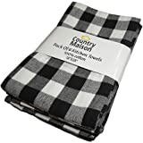 Country Maison Kitchen Towels | 100% Cotton - Pack of 6 Absorbent Dish Towels | Tea Towels | Bar Towels | Buffalo Check…