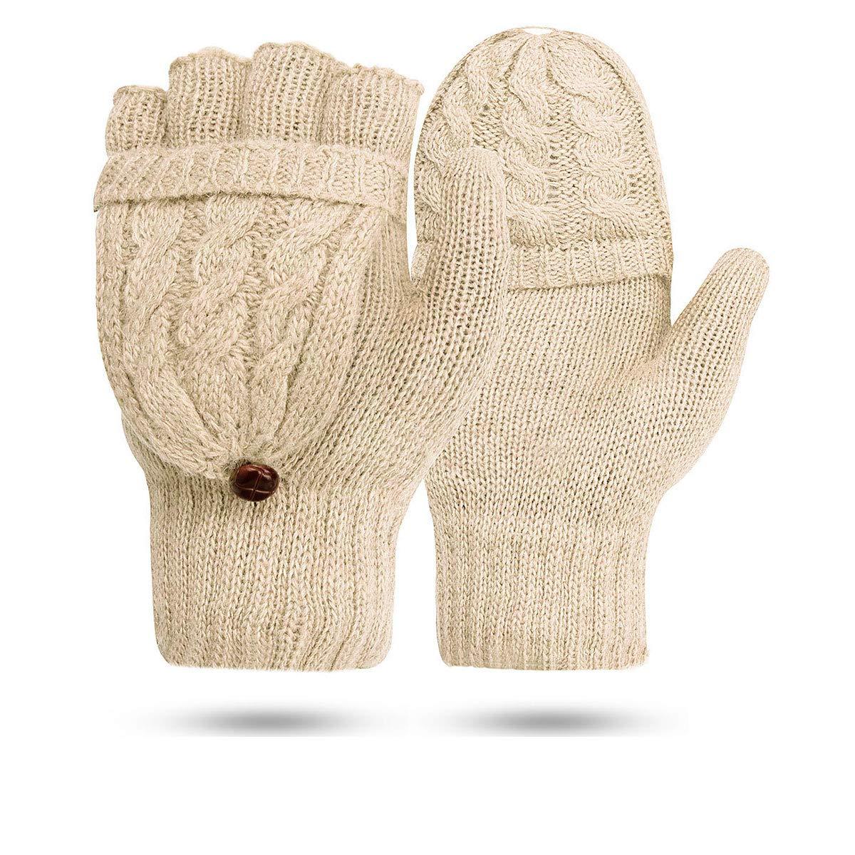 Men/'s Convertible Fingerless Mitten Gloves Knitted Wool Acrylic Beige Driving