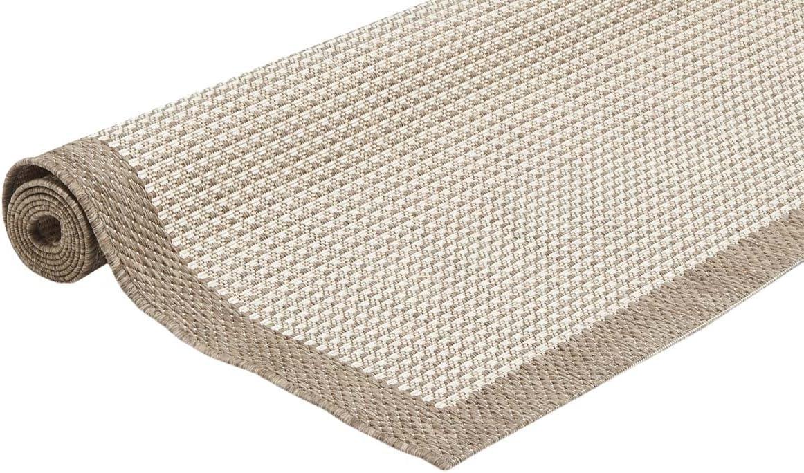 WEBTAPPETI.IT Tappeto Outdoor Tappeto da Esterno Beige Resistente ai Raggi UV e Pioggia Chrome Natural 135x190