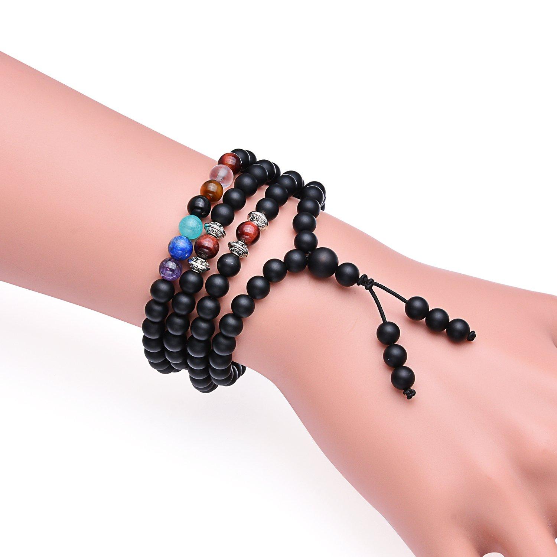 Amazon.com: HIMAY 108 Mala Beads 6mm Black Matte Agate & White ...