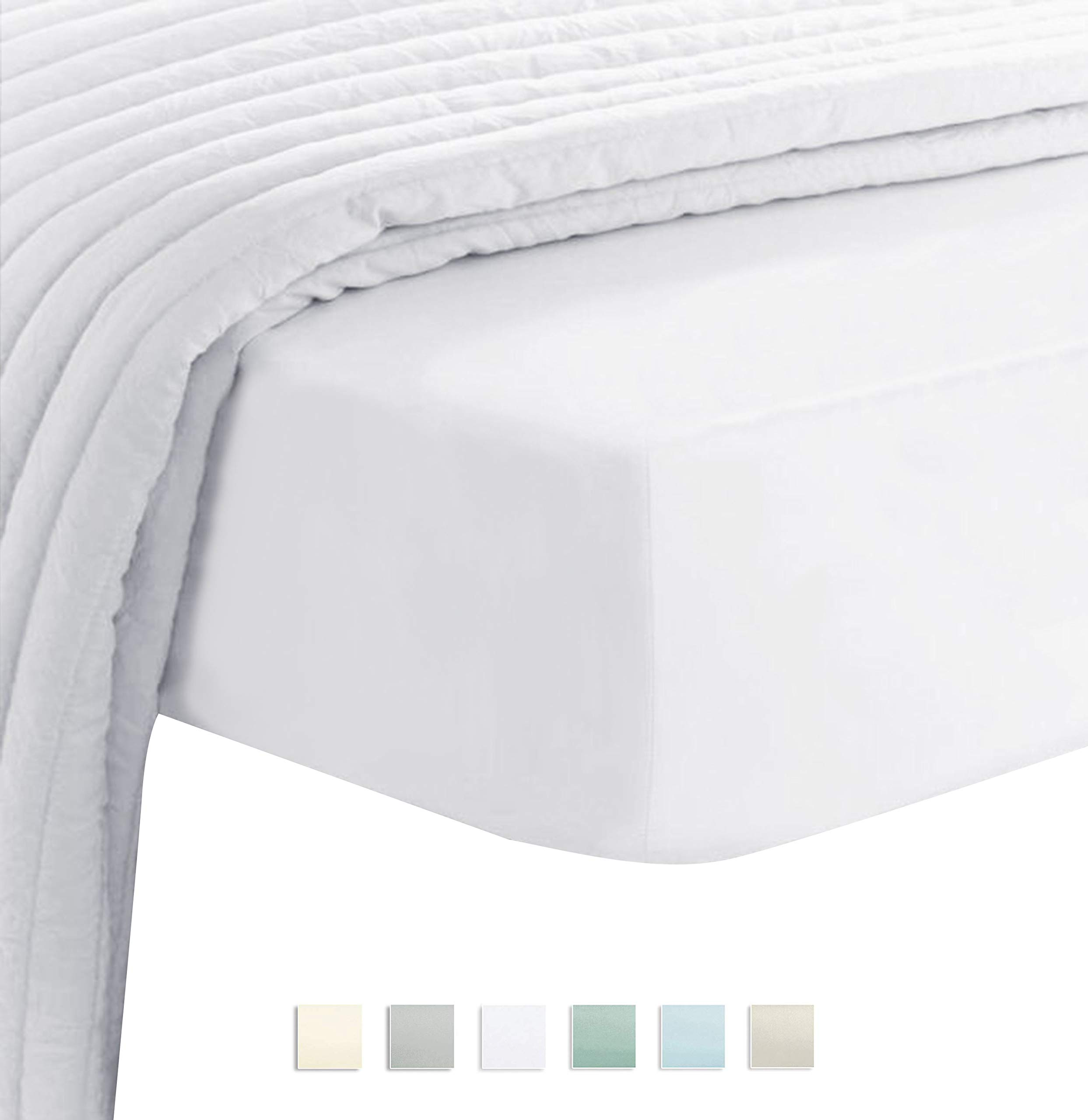 Premium 400 Thread Count Cotton Queen Fitted Sheets White 1pc, 100% Long Staple Cotton Fitted Sheet, Soft Sateen Bed Fitted Sheets fit Upto 16'' Deep Pocket (White 100% Cotton Deep Fitted Sheet Queen)