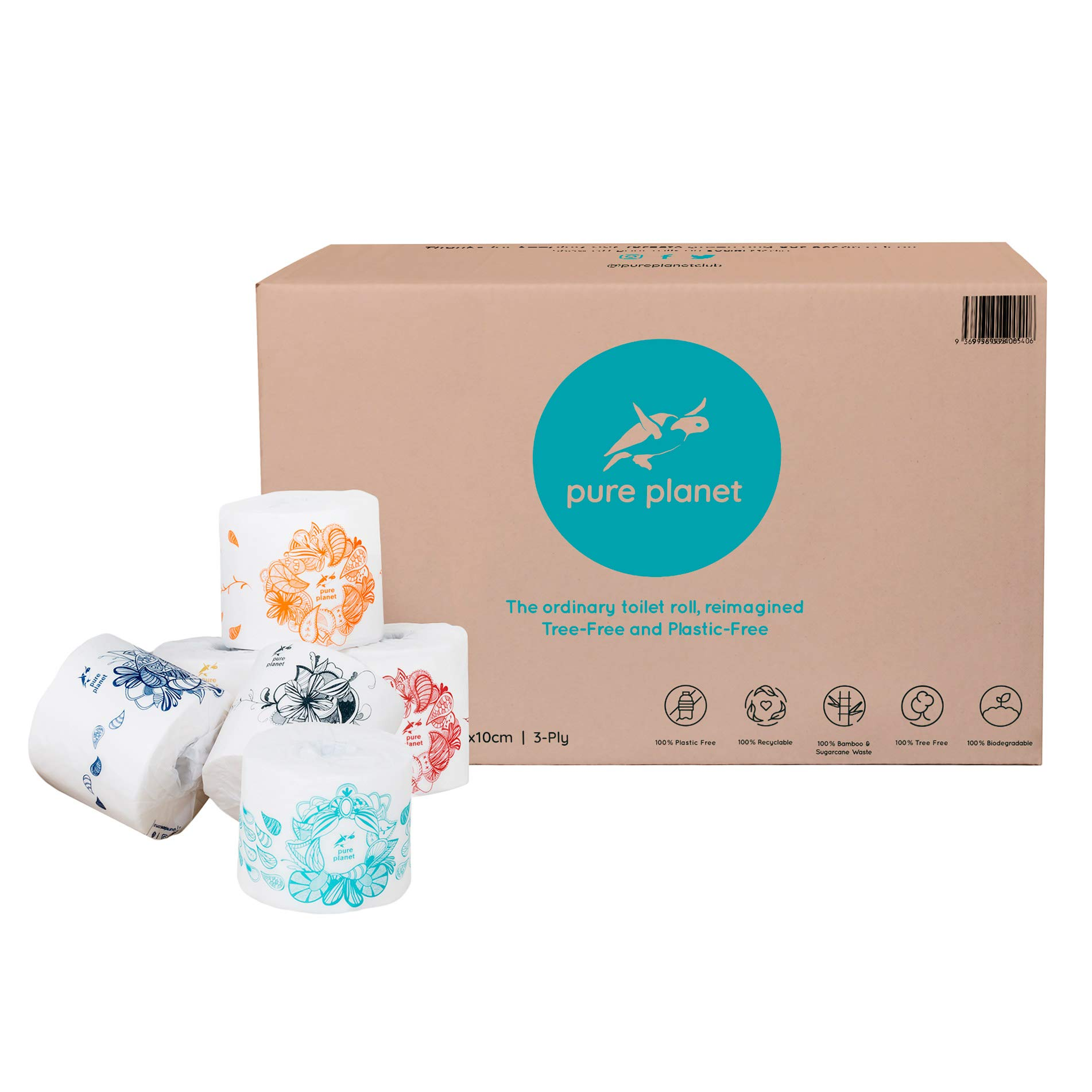 Pure Planet Club 3-Ply, Double Length, Tree-Free, Plastic-Free, Bamboo and Sugarcane Toilet Tissue, 300 Sheets Per Roll, 36 Large Rolls Per Box