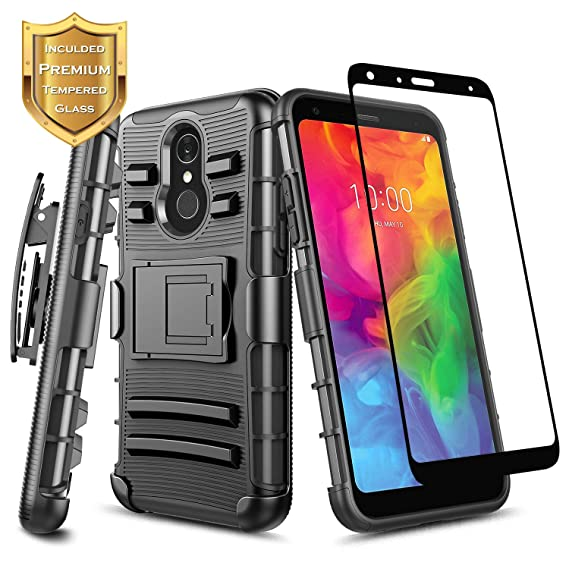 online retailer bf7ef e99bf LG Q7+ Plus Case with Tempered Glass Screen Protector (Full Coverage),  NageBee Belt Clip Holster Built-in Kickstand Heavy Duty Shockproof Combo  Rugged ...