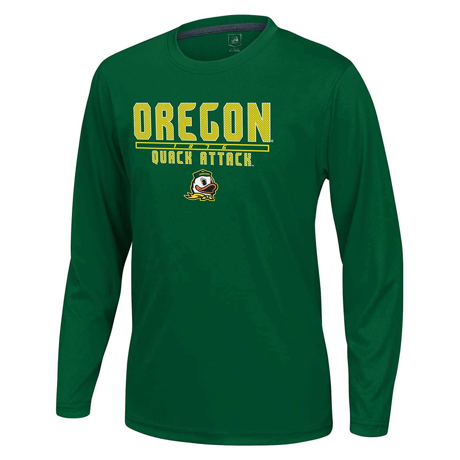 X-Large J America NCAA Oregon Ducks Boys Youth School Slogan Long Sleeve Callout Poly Tee Green