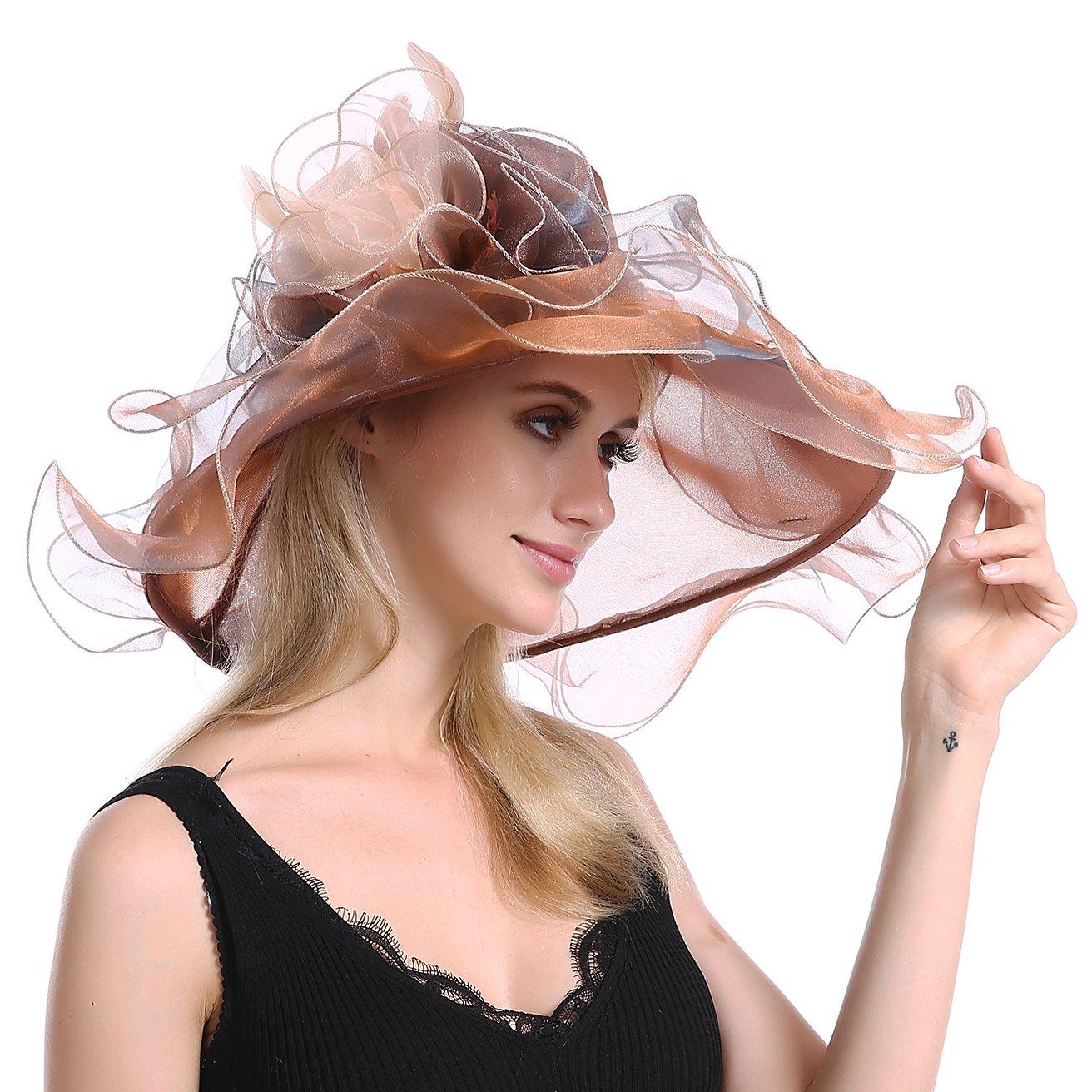 JAKYGlobal Women's Church Kentucky Derby Fascinator Bridal Hat Tea Party Sun Travel Wedding Organza Floral Cap