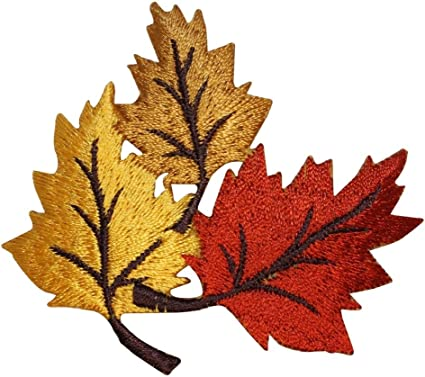 Fully Embroidered Iron On Applique Patch Fall Autumn SET OF 2 Leaves