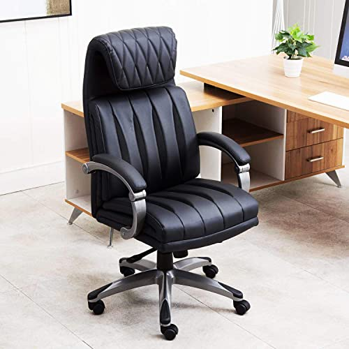 LCH Office Chair PU Leather High Back Reclining Computer Executive Desk Chair Adjustable Rolling Swivel Chair with Lumbar Support