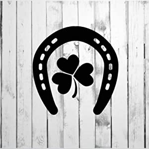 Horseshoe and Three Leaf Clover Wall Sticker, Vinyl Wall Decal,Decor for Windows,Living Room ,Bumper,Laptop,Tumbler,Bathroom Home Decor