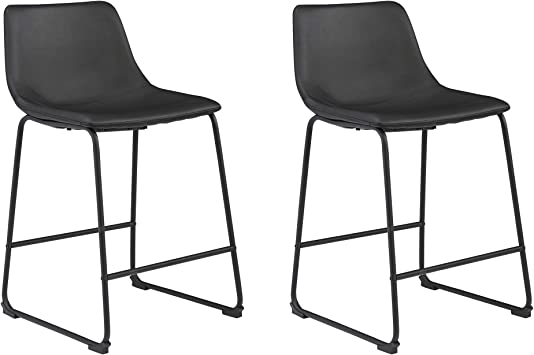 Signature Design By Ashley Centiar 24 Counter Height Modern Bucket Barstool Set Of 2 Black Furniture Decor