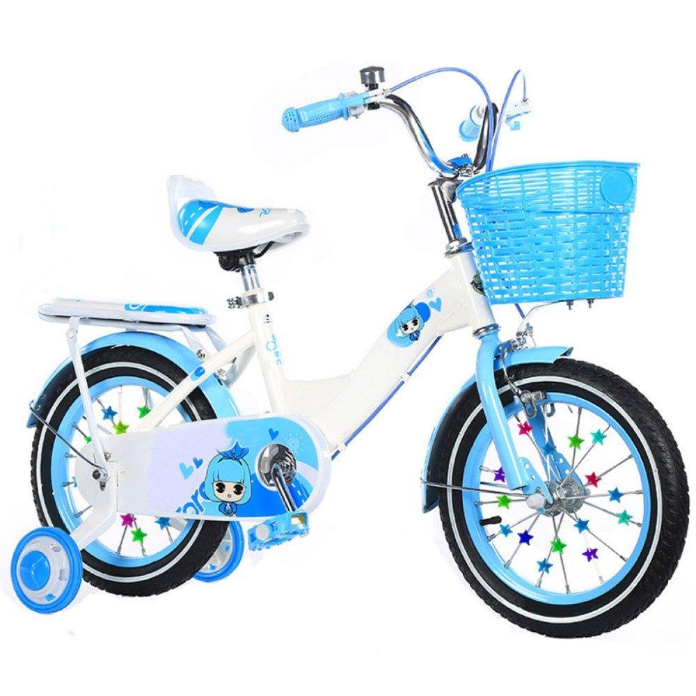ZCRFY Bicicleta para Niños Niñas Estudiantes Bicicletas Infantiles Silla Confort Ajustable Marco De Acero Peso Ligero Niños Triciclo Saldo Seguro,Blue-14Inches