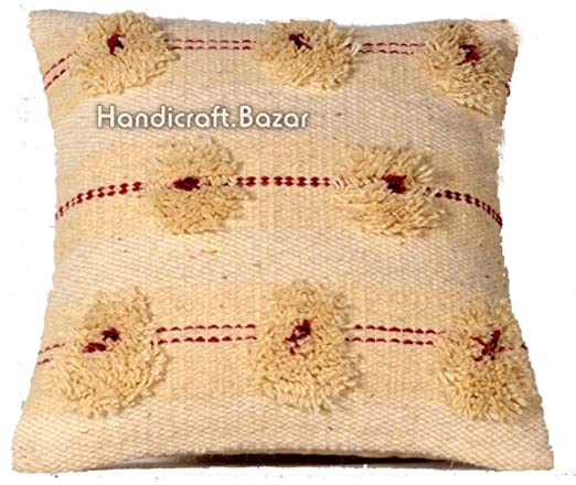 Handicraft Bazar Juego de 2 Fundas de cojín de Lana Shaggy ...