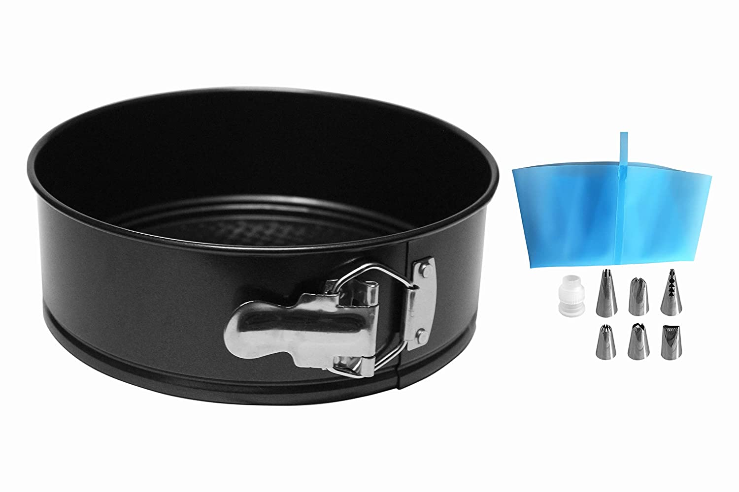 MiHerom 7 Inch Non Stick Springform Pan,Leakproof Cheesecake Pan,Higher Side Cake Pan Bakeware with Icing Piping Set,Fit 6,8 Qt Pressure Cooker,Instant Pot,Air Fryer,7 Inch,7 Cup