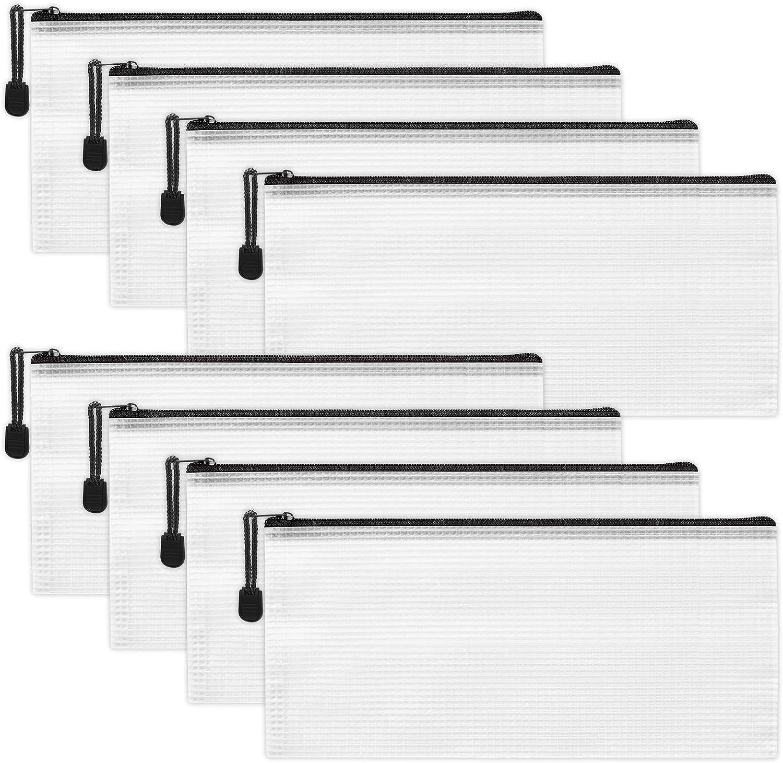 LABUK 8pcs Zipper File Bag, Mesh Zip Pencil Pouch Small Zipper Pouch for School Office Travel Storage, Black