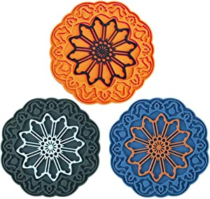 Silicone Trivet Mat Set for Hot Dishes, DATYSON Multi-Use Hot Pads Kitchen Trivets for Hot Pan and Pot Holder with Flower Carving, Heat Resistant, 7 Inch Extra Thick Round Counter Mats, 3 Pack 1