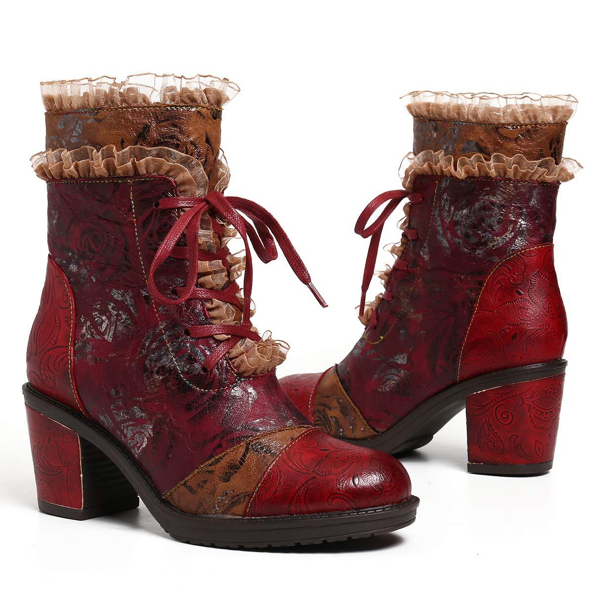 Gracosy Bottines Cuir Talons Femmes Boots Hiver /à Lacets en Cuir Rangers Chaussures de Ville Bottes /à Talons Hauts Confortable Originales