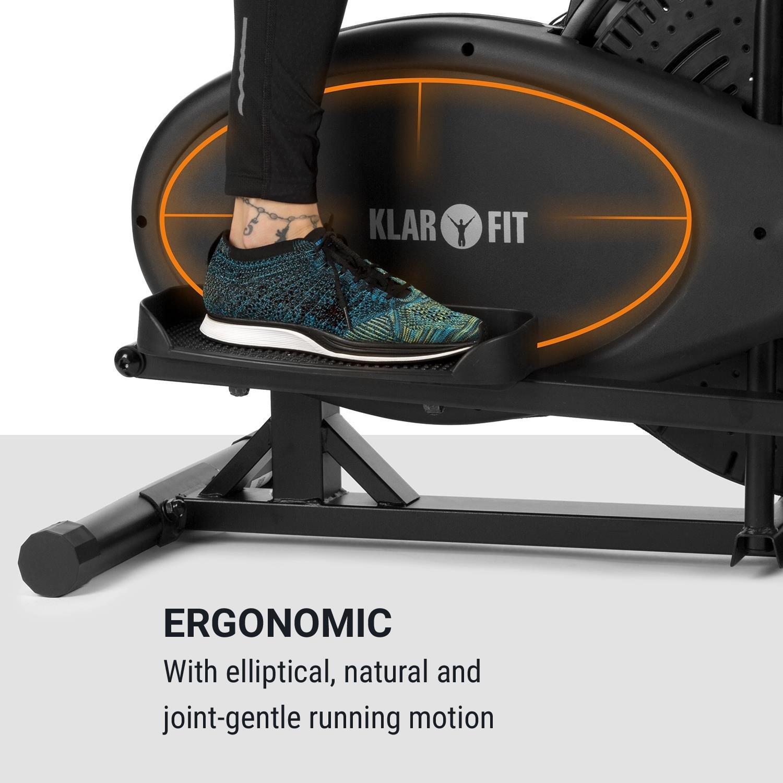Klarfit Orbifit Basic • Máquina de Correr elíptica • Bicicleta elíptica • Manillar con Altura Regulable • Estructura de Acero • Agarre Acolchado • Pedales ...