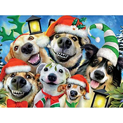 Ceaco Christmas Pups Selfies Jigsaw Puzzle: Toys & Games