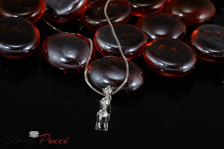 Clara Pucci 0.45 CT Brilliant Round Cut Simulated Diamond 3-Stone 14K White Gold Solitaire Pendant Box Necklace 16 Chain