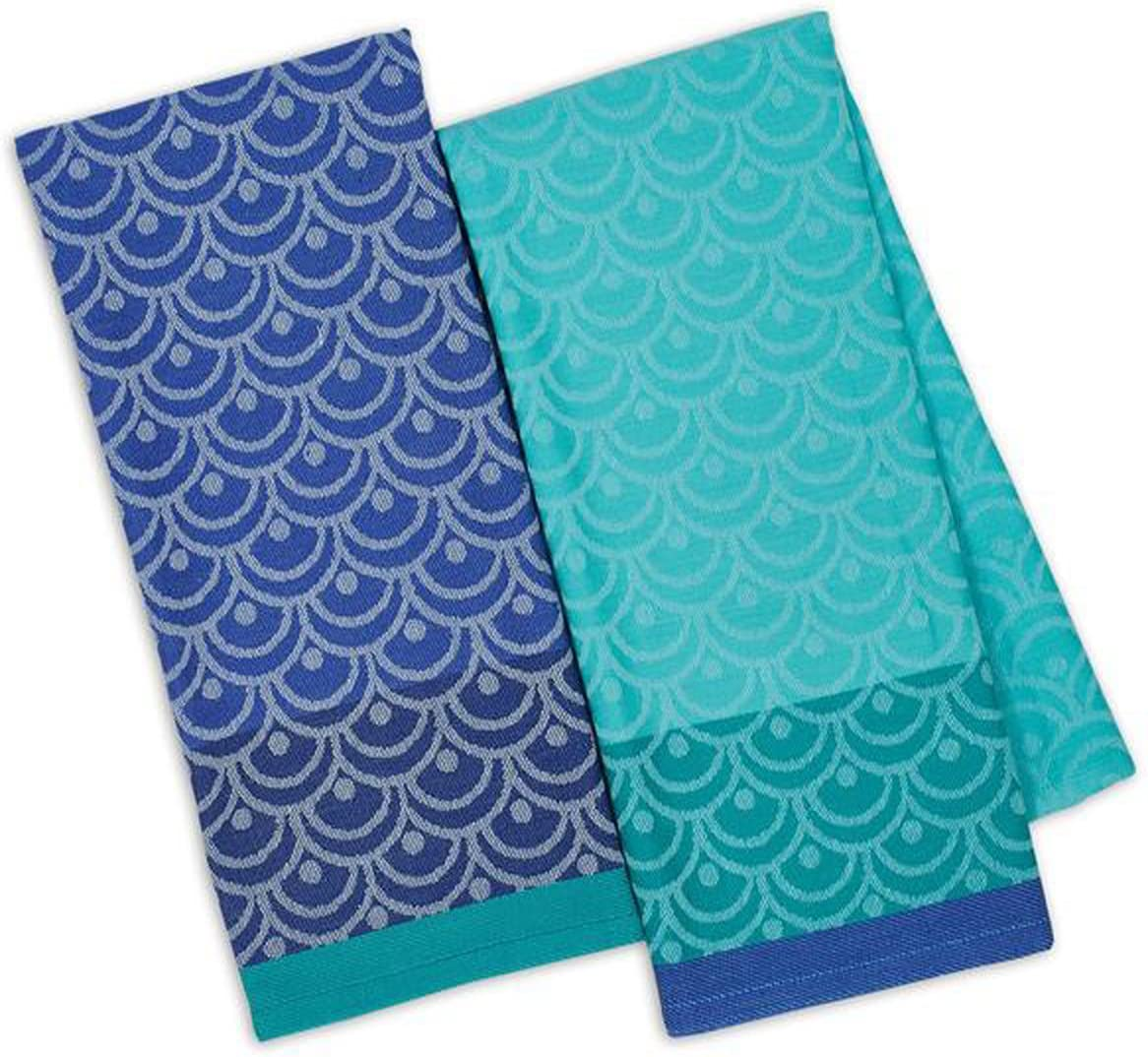 Design Imports Blue Santorini Cotton Table Linens, Dishtowels 18-Inch by 28-Inch, Set of 2, Scallops Jacquard: Home & Kitchen