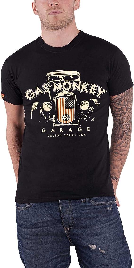 Gas Monkey Garage T Shirt Patriotic Usa Flag Hot Rod Offiziell Herren Nue Bekleidung