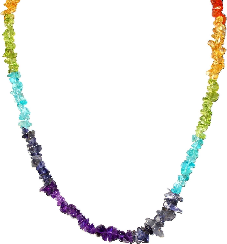 "CHARGED 7 Chakra Necklace 18"" Premium Tumble Polished Crystal Gemstone Chips Necklace (Amethyst, Iolite, Blue Apatite, Peridot, Citrine, Carnelian Agate, Garnet) + Selenite Heart"