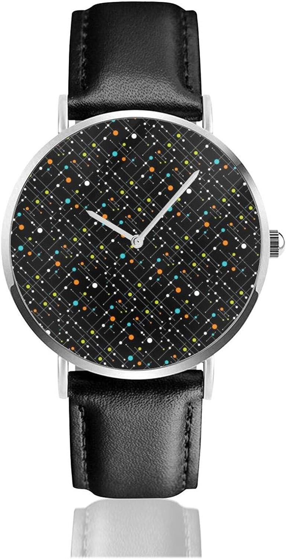 Retro Hipster Negro Space Age Atomic Reloj Cuarzo Movimiento Impermeable Correa de Cuero para Hombres Mujeres Simple Business Casual Reloj