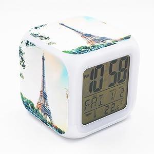 Boyan Led Alarm Clock France Paris Eiffel Tower Design Creative Desk Table Clock Glowing Electronic Led Digital Alarm Clock for Unisex Adults Kids Toy Gift
