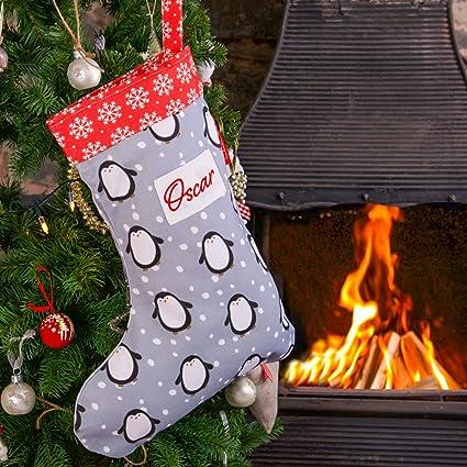 Izabela Peters Personalizado Calcetines Navidad Gris Pingüino Diseñado, Estampado & hecho a mano en el