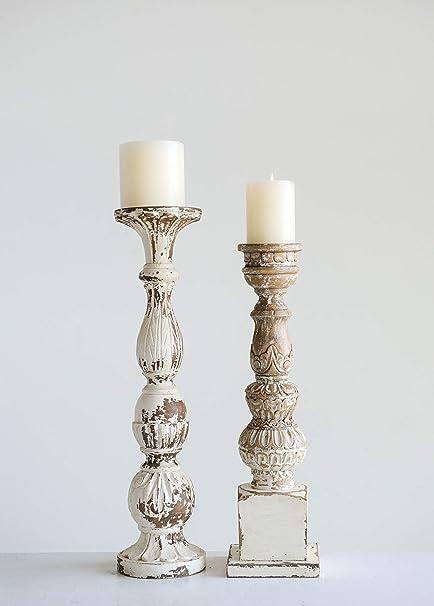 Phenomenal Amazon Com Creative Co Op Hand Carved Mango Wood Candle Interior Design Ideas Gentotryabchikinfo