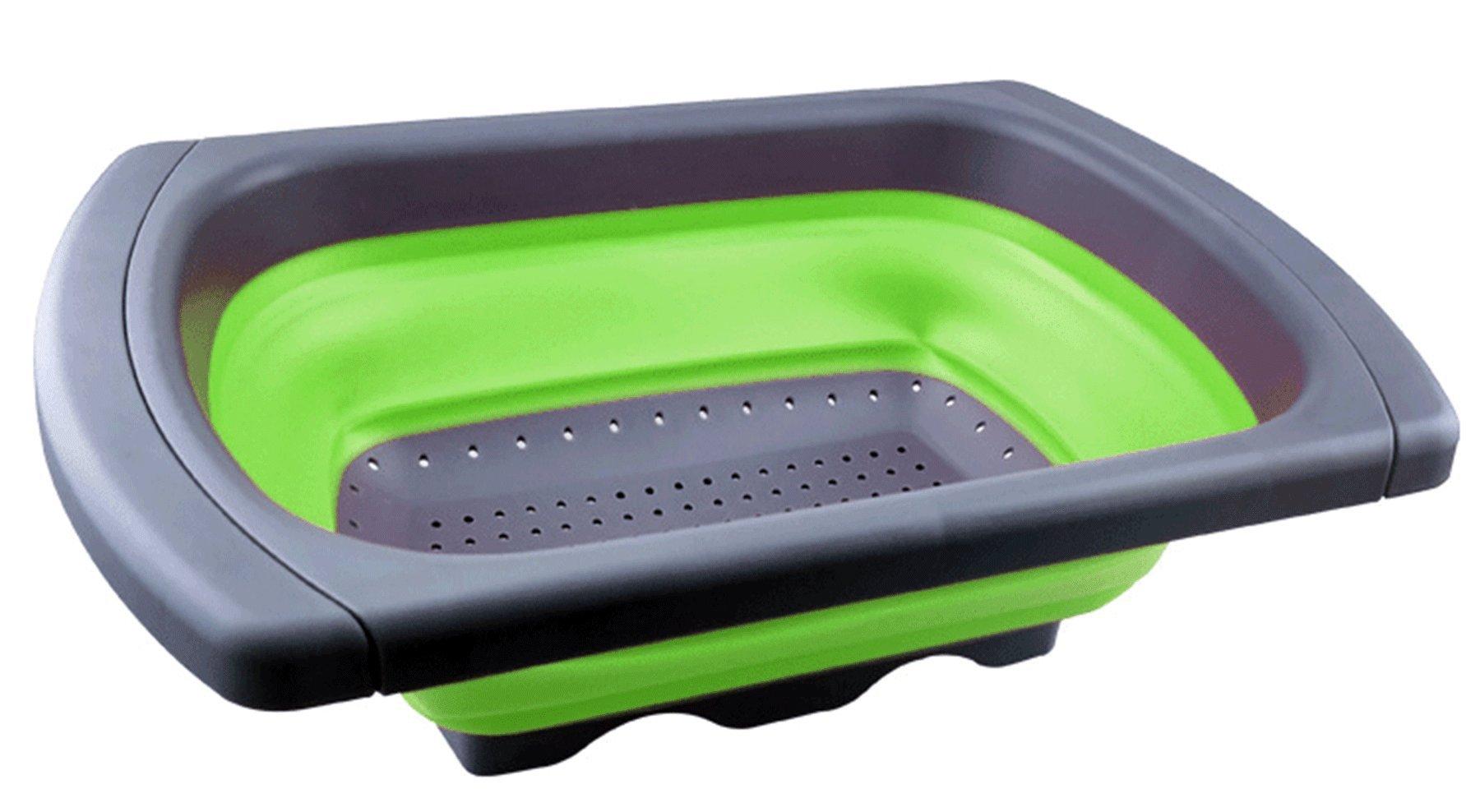 HI-QUAL Colander Collapsible,Collapsible Over the Sink Colander/Strainer,Folding Strainer for Kitchen,Over the Sink Colander with Handles,Capacity of 6 quart-Green