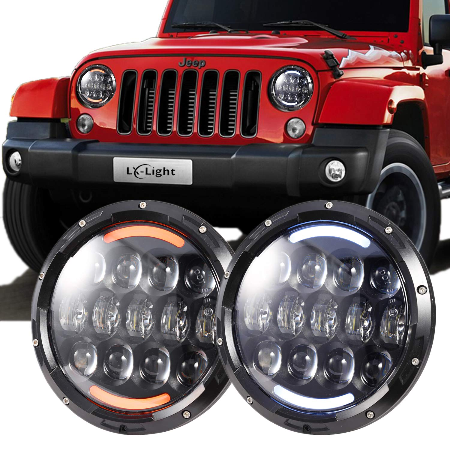 Lx Light Extreme Bright 105w Osram Chips Headlights With Back Up Lights Wiring Diagram 2003 Jeep Wrangler White Drl Amber Turn Signal For Jk Lj Tj Cj Hummer H1 H2 Land Rover