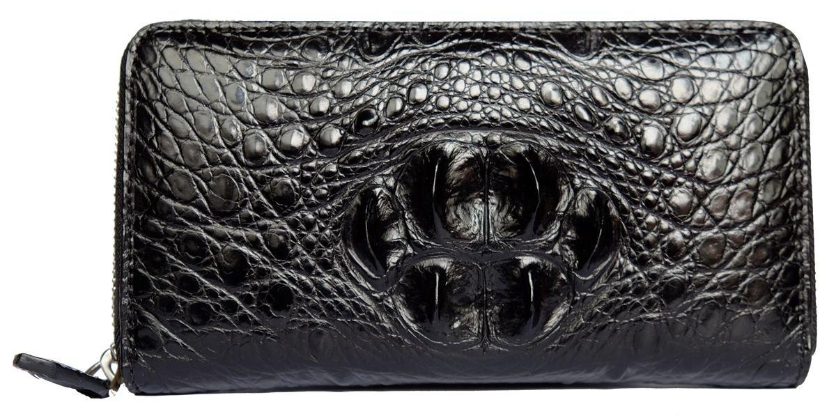 CHERRY CHICK Men's Genuine Leather Crocodile Skin Long Wallet/Alligator Zip-Around Business Clutch Handbag(Head Leather-Black)