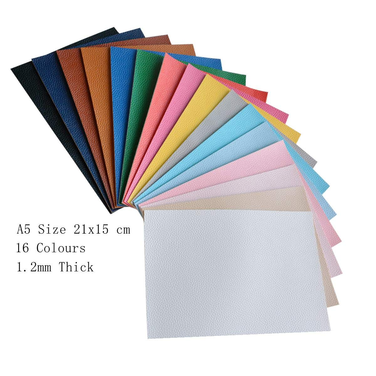 16 Pieces A5 Size Solid Color 1.2MM Thickness Litchi Grain Texture Synthetic Faux Leather Fabric Sheets Cotton Back for Making Hair Bows, Earrings, Placemats, 16 Color Each Color One Sheet by Doublefire (Image #2)
