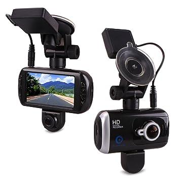bluepupile Dual Dash Cam con GPS, Dual Cámara de 3.0 pulgadas.