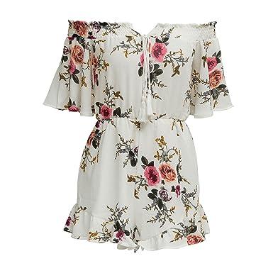 68a503fb7e SUNNOW Women s Boho Off The Shoulder Floral Print Playsuit Romper Jumpsuit  (L