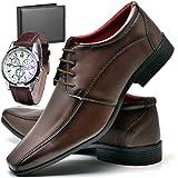 Sapato Social Com Relógio Carteira e Cadarço Masculino Top Flex R804DB