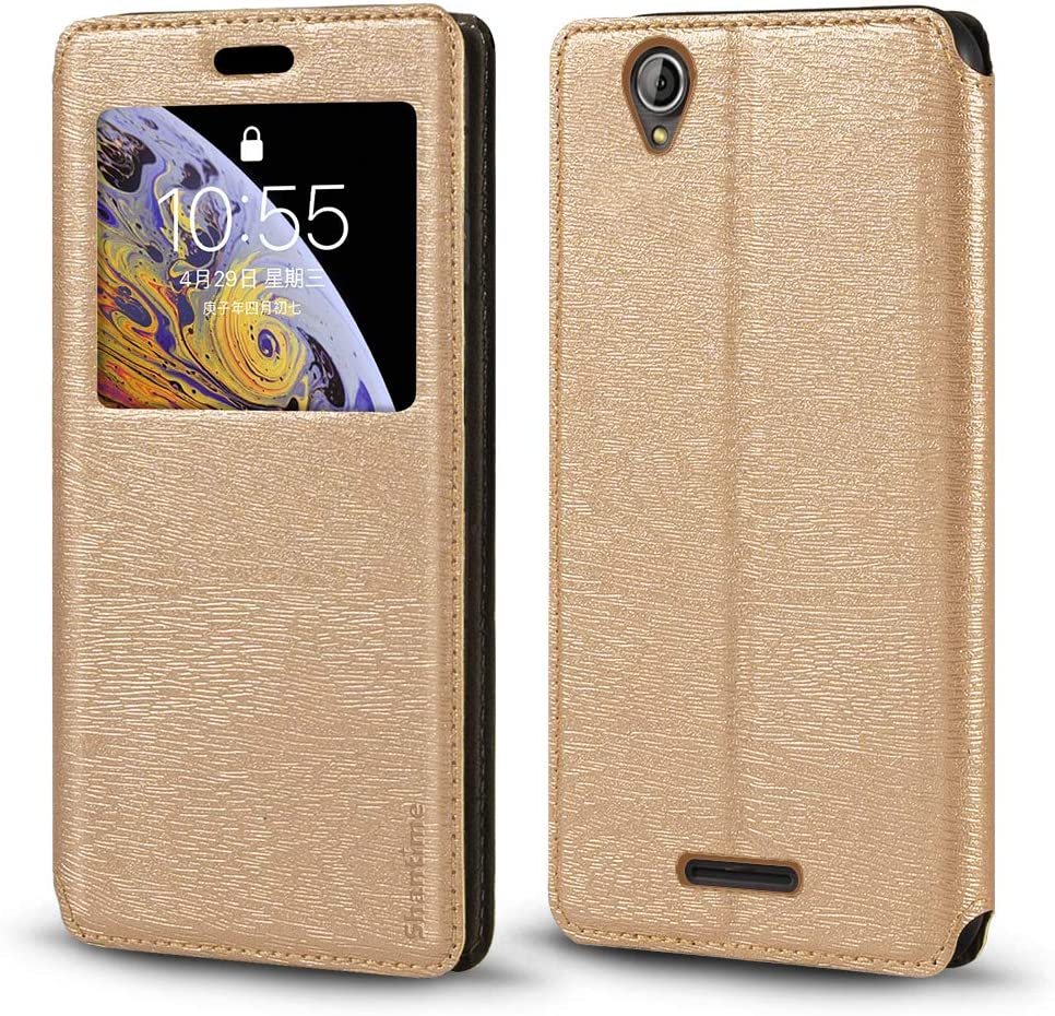 Acer Liquid Z630 Case, Wood Grain Leather Case with Card Holder and Window, Magnetic Flip Cover for Acer Liquid Z630