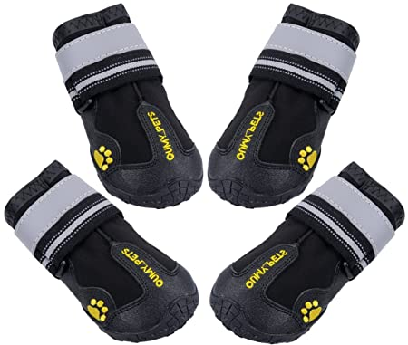 Qumy Dog Boots Waterproof Shoes For Large Dogs With Reflective Velcro Rugged Anti Slip Sole Black 4 Pcs by Qumy