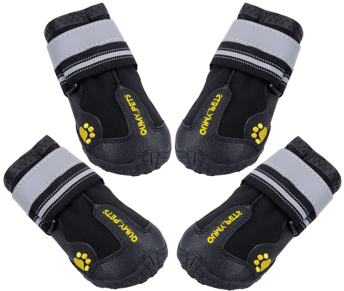 QUMY QUMY Dog Boots Waterproof Shoes for Large Dogs with Reflective Velcro Rugged Anti-Slip Sole Black 4PCS (Size 6: 2.9×2.5 Inch)
