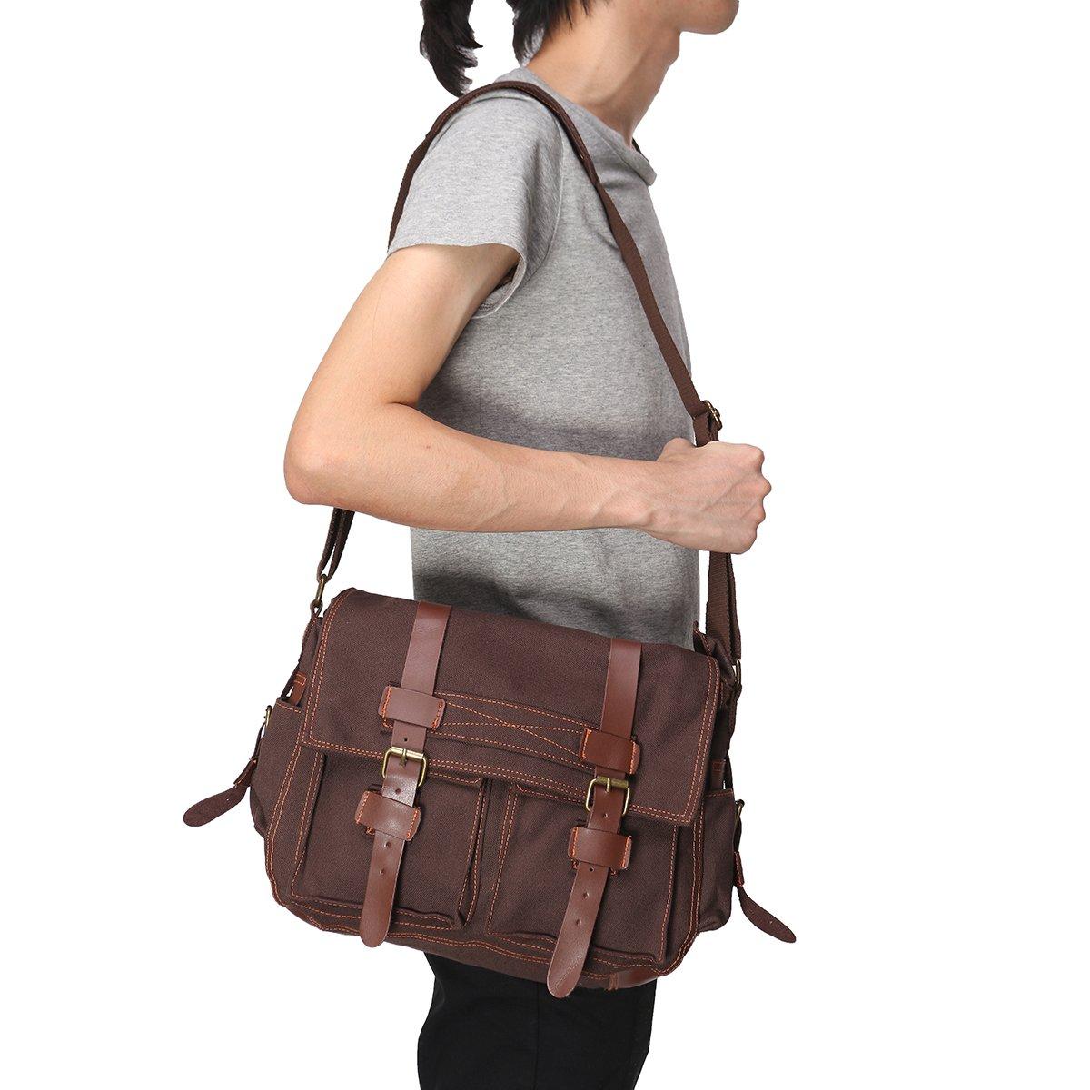 OURBAG Vintage Canvas Leather Military Shoulder Messenger Bag