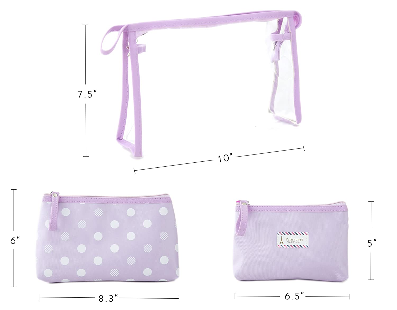 a480a9f88033 Amazon.com   Zhoma 3 Piece Waterproof Cosmetic Bag Set - Makeup Bags And Travel  Case - Purple   Beauty