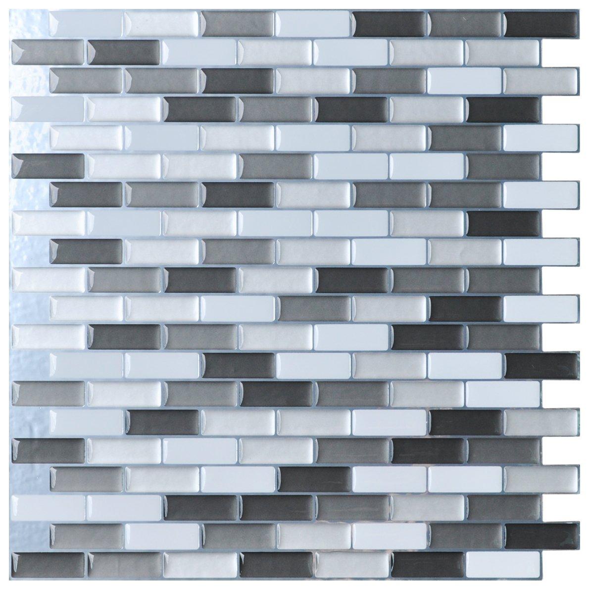 Art3d Peel-N-Stick Kitchen Backsplash Wall Tile Vinyl Wall Sticker, 12' x 12' Pack of 6 12 x 12 Pack of 6 6165173