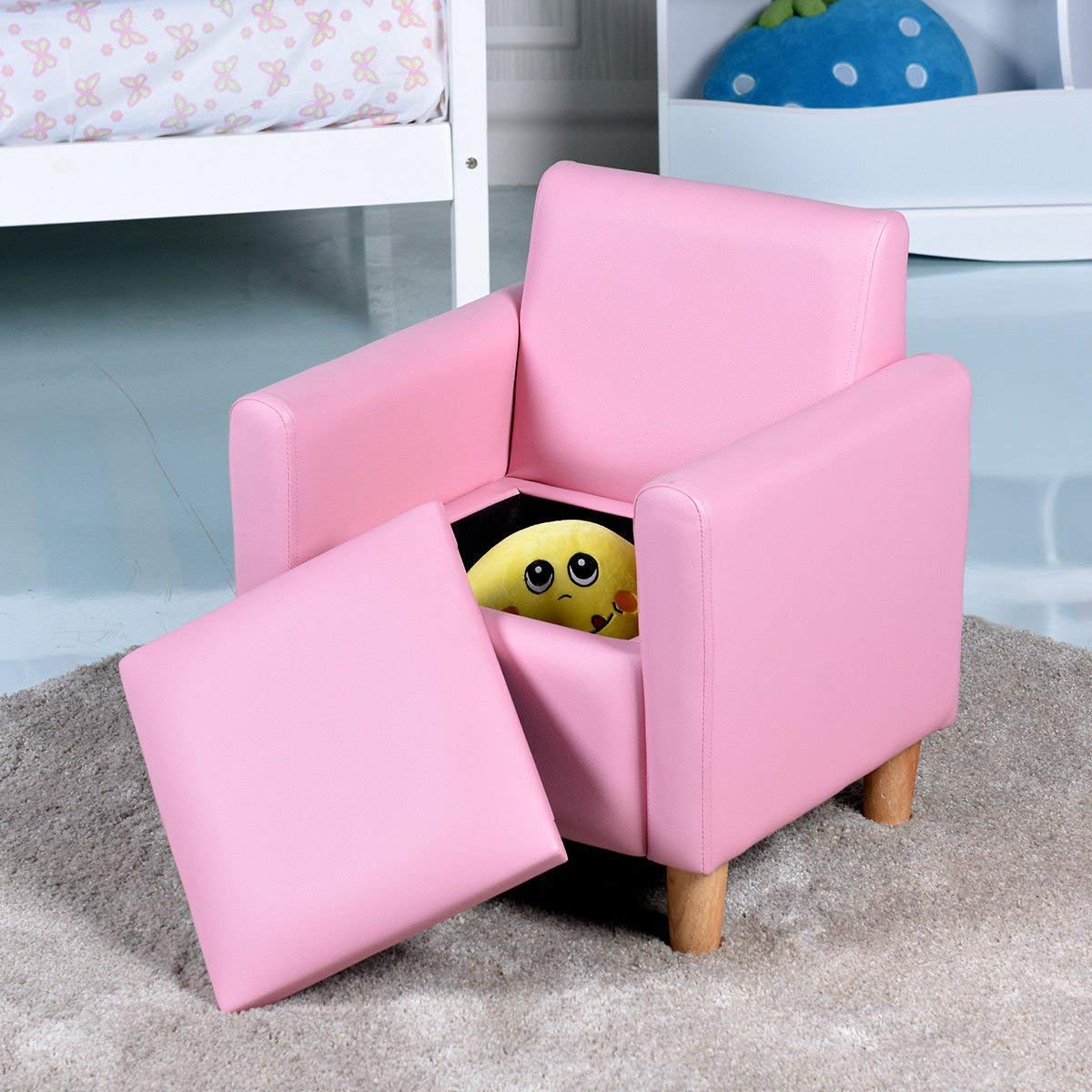 HONEY JOY Kids Sofa, Upholstered Armrest, Sturdy Wood Construction, Toddler Couch with Storage Box (Single Seat, Pink) by HONEY JOY (Image #7)
