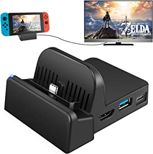 UKor Switch TV Dock, Portable Charging Stand for Nintendo Switch,Compact Switch to HDMI Adapter,Mini Switch Docking Station with Extra USB 3.0 Port, Replacement Charging Dock for Nintendo Switch