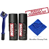 Grand Pitstop Motul C1 Chain Clean and Chain lube (150 ml) Bike Chain Cleaning Brush Blue and Microfibre Cloth