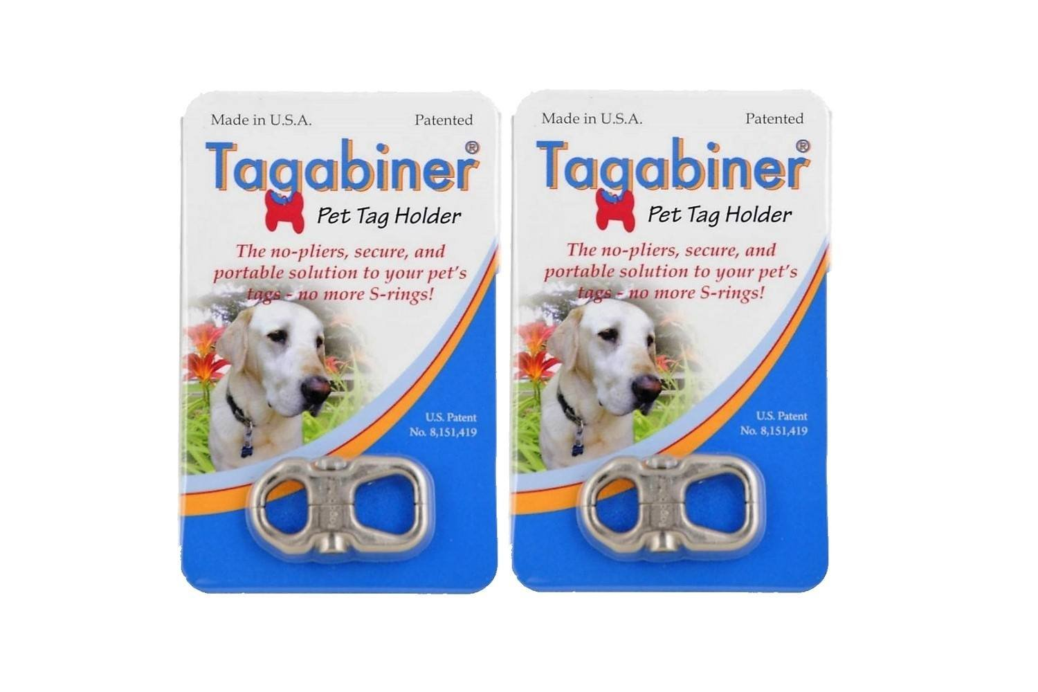 Tagabiner The New Pet Tag Holder, Secure and Portable Solution to your Pet's Tags (2 Pack)